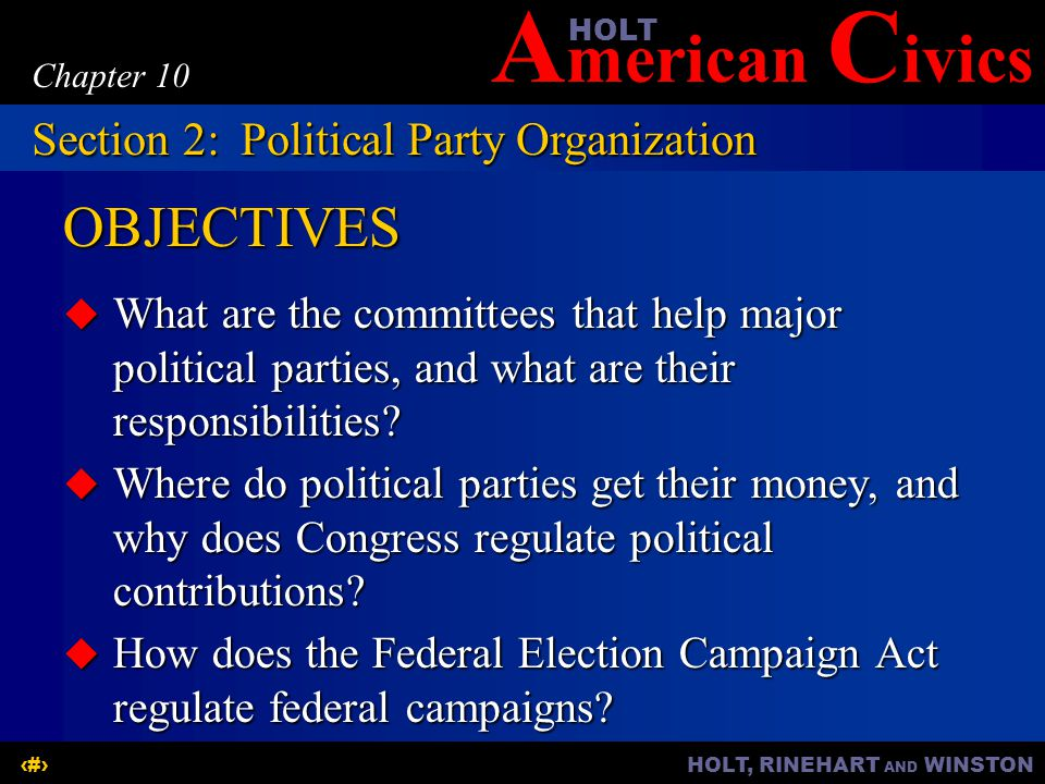 OBJECTIVES Section 2: Political Party Organization