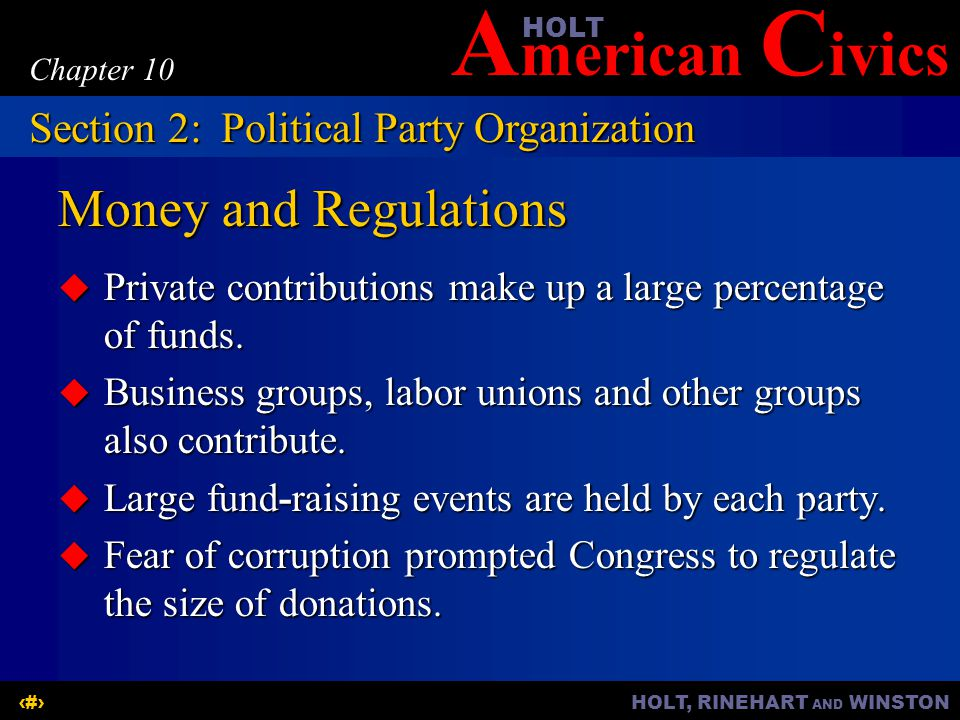 Money and Regulations Section 2: Political Party Organization