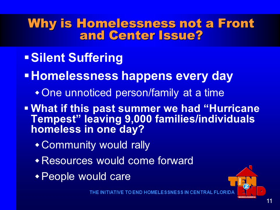 Why is Homelessness not a Front and Center Issue