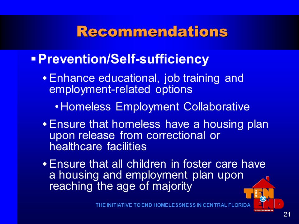 Recommendations Prevention/Self-sufficiency