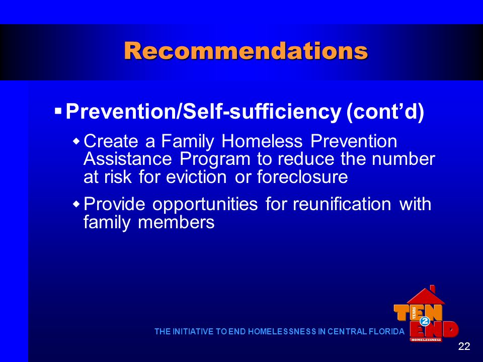 Recommendations Prevention/Self-sufficiency (cont'd)