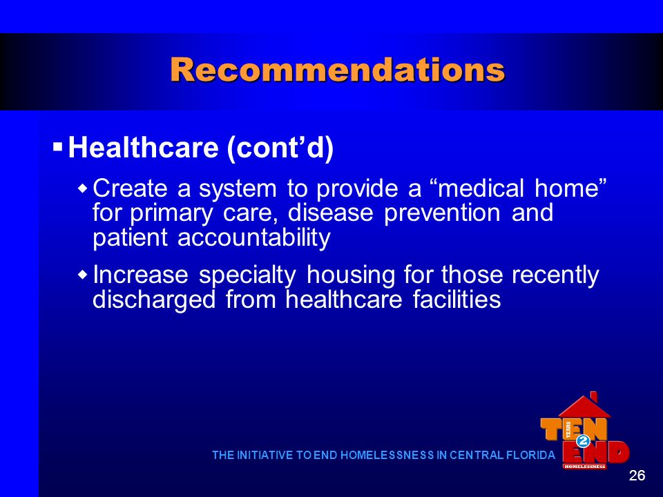 Recommendations Healthcare (cont'd)