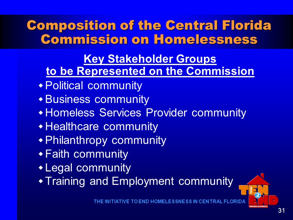 Composition of the Central Florida Commission on Homelessness