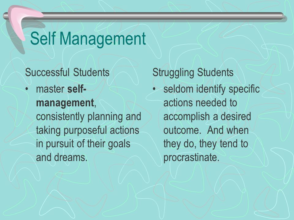 Self Management Successful Students