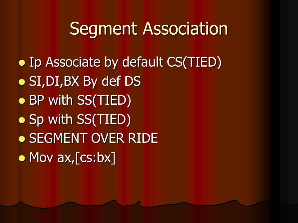 Segment Association Ip Associate by default CS(TIED)