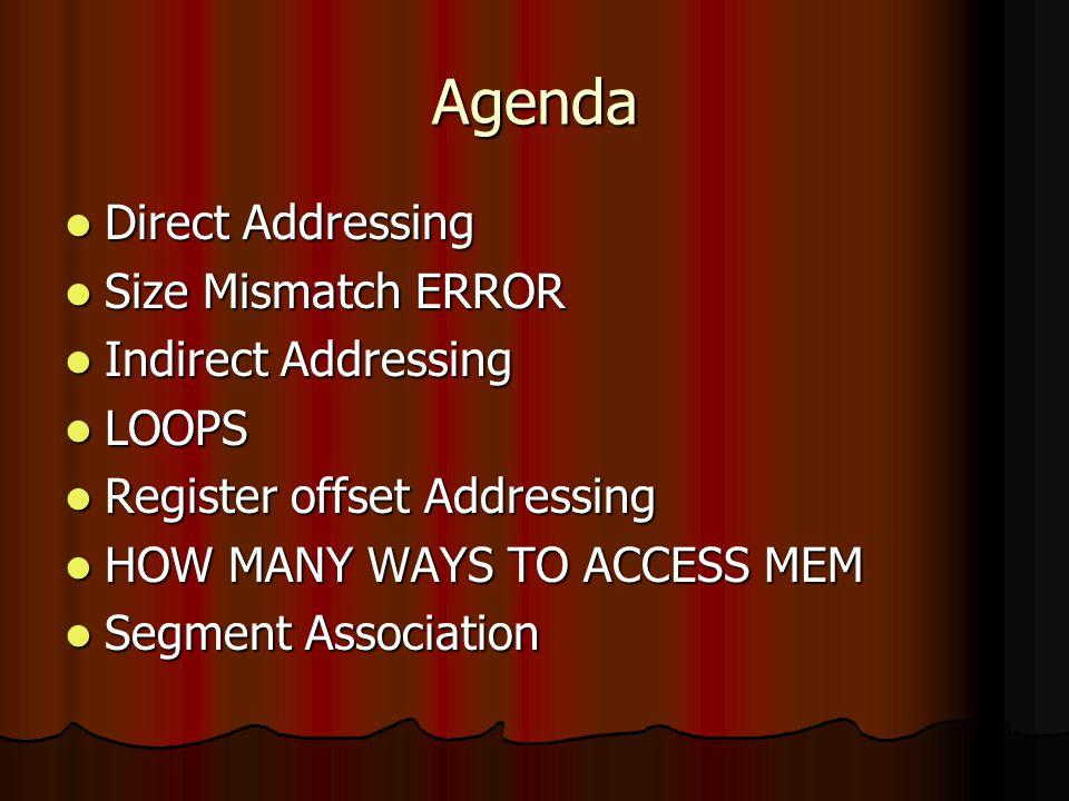 Agenda Direct Addressing Size Mismatch ERROR Indirect Addressing LOOPS
