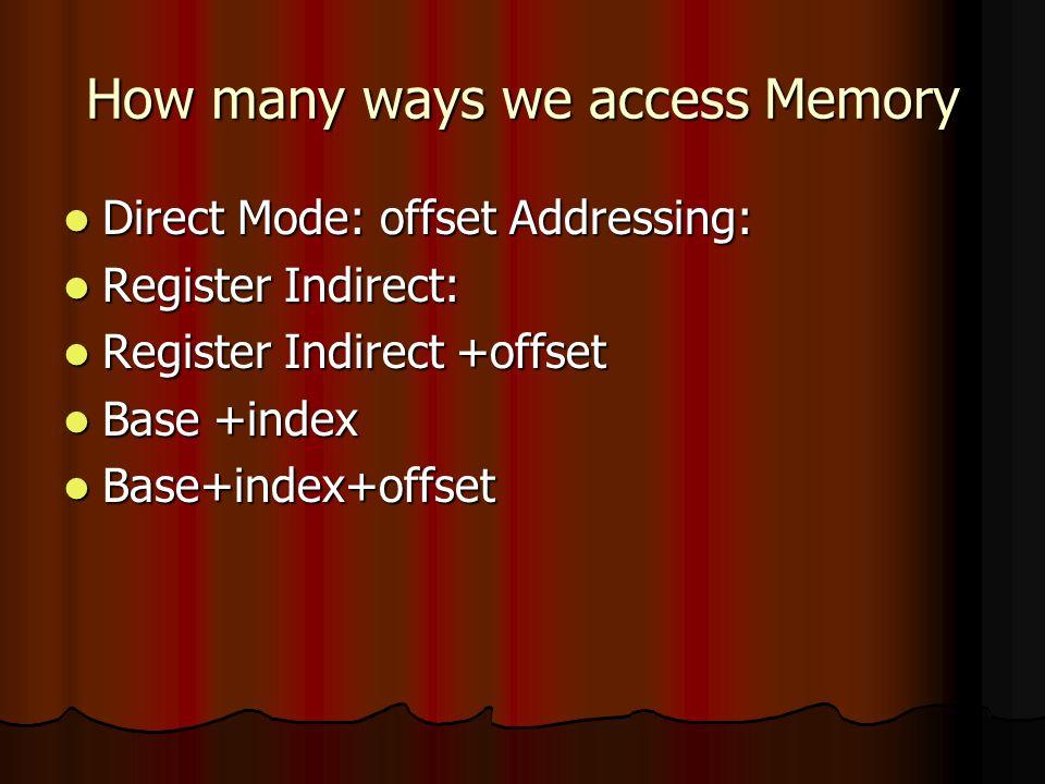 How many ways we access Memory