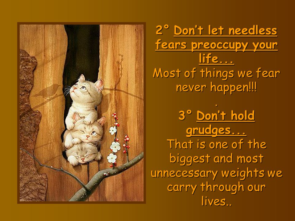 2° Don't let needless fears preoccupy your life
