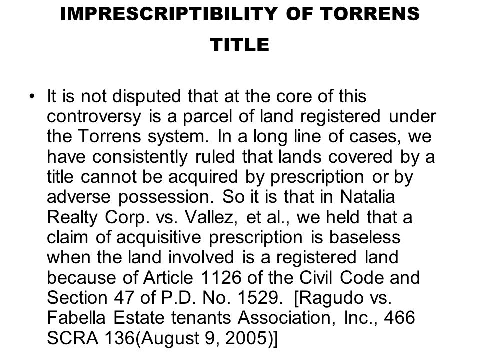 IMPRESCRIPTIBILITY OF TORRENS TITLE