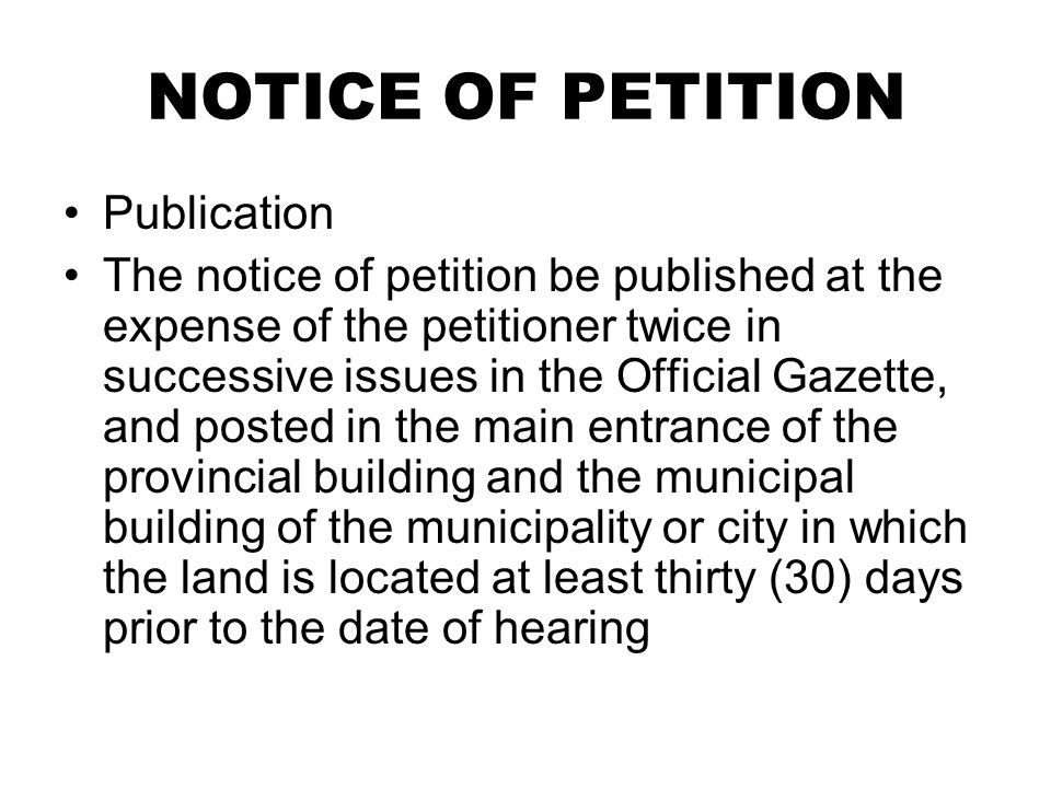 NOTICE OF PETITION Publication