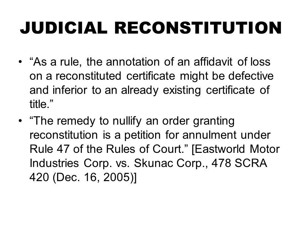 JUDICIAL RECONSTITUTION