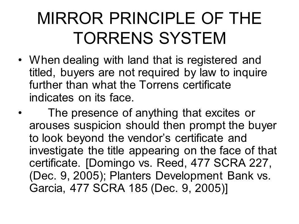 MIRROR PRINCIPLE OF THE TORRENS SYSTEM