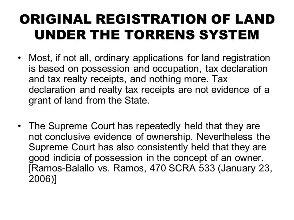ORIGINAL REGISTRATION OF LAND UNDER THE TORRENS SYSTEM