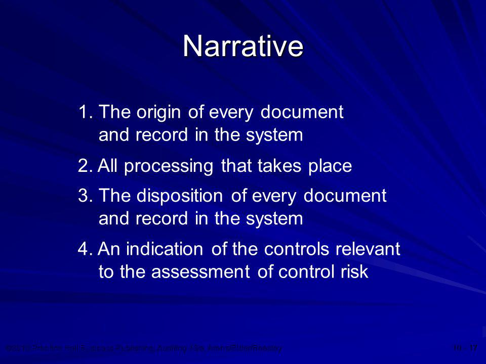 Narrative 1. The origin of every document and record in the system