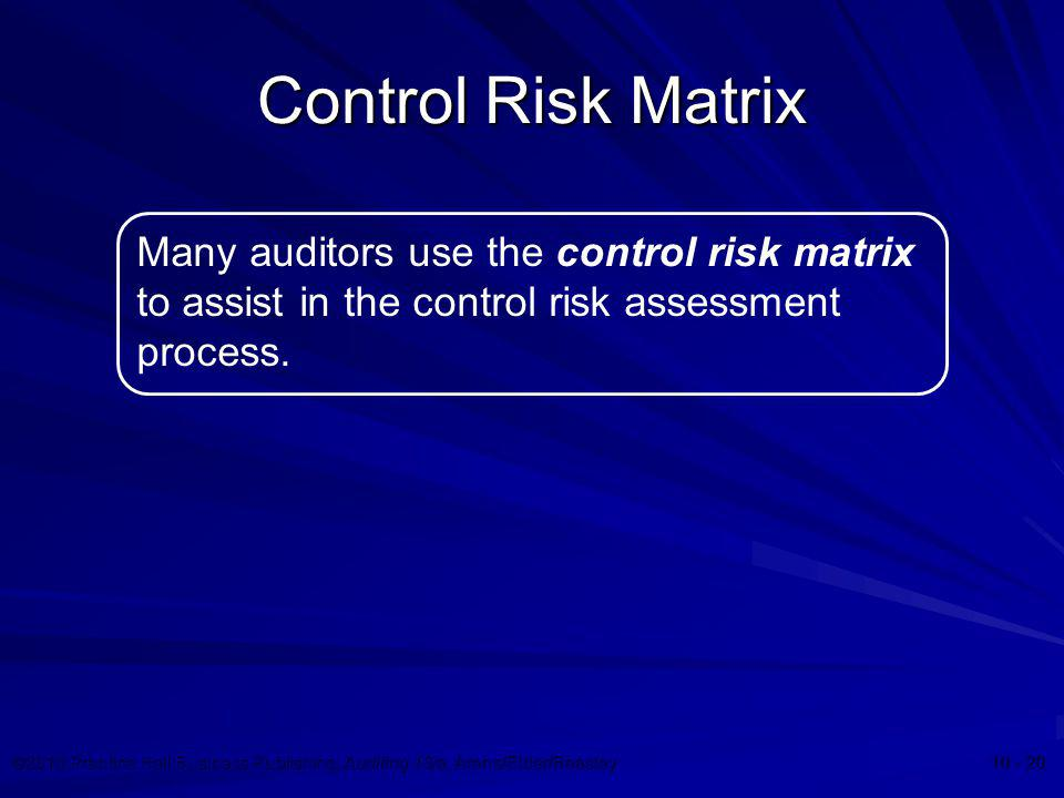Control Risk Matrix Many auditors use the control risk matrix