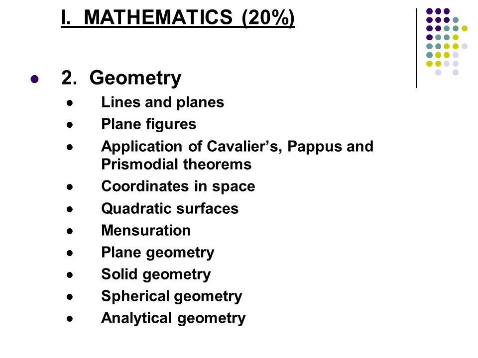 I. MATHEMATICS (20%) 2. Geometry Lines and planes Plane figures