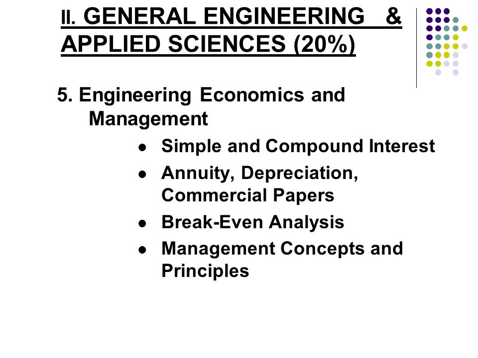 II. GENERAL ENGINEERING & APPLIED SCIENCES (20%)
