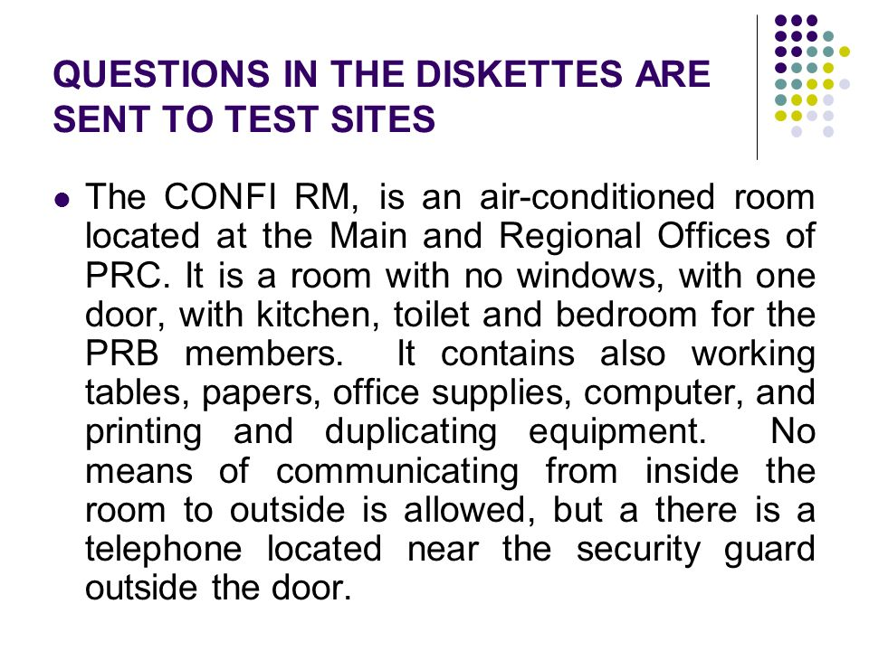 QUESTIONS IN THE DISKETTES ARE SENT TO TEST SITES