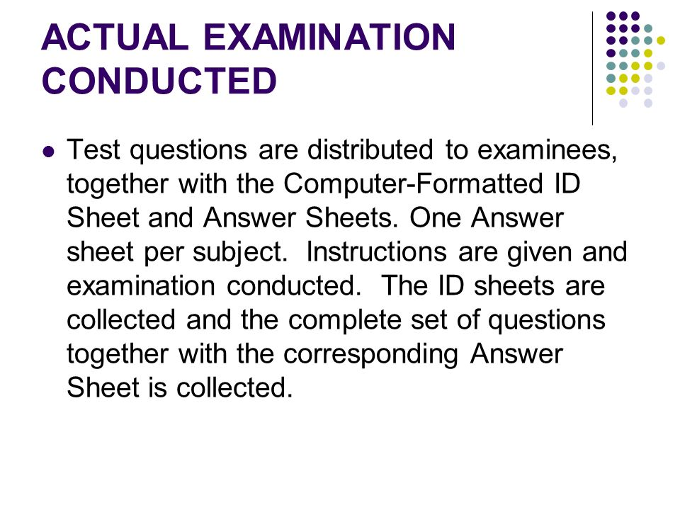 ACTUAL EXAMINATION CONDUCTED