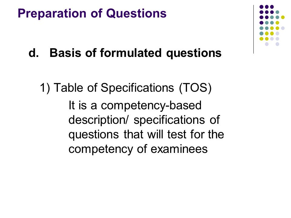 Preparation of Questions