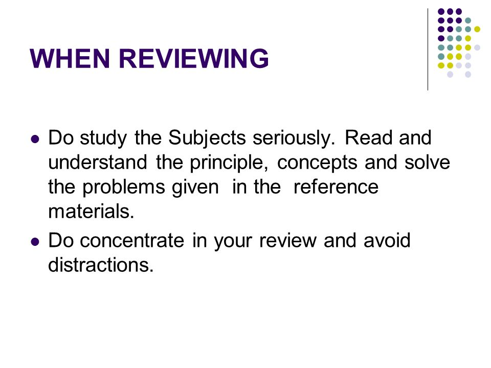 WHEN REVIEWING