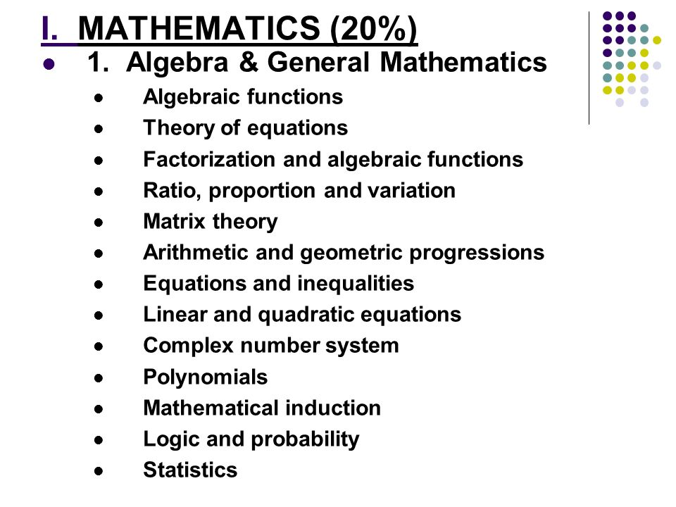 I. MATHEMATICS (20%) 1. Algebra & General Mathematics