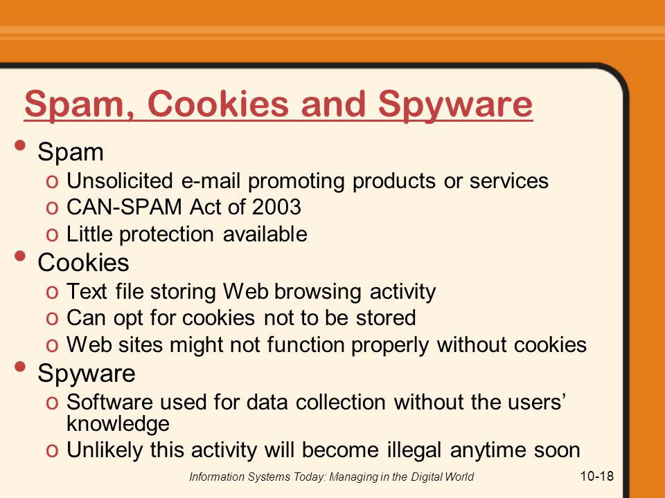 Spam, Cookies and Spyware