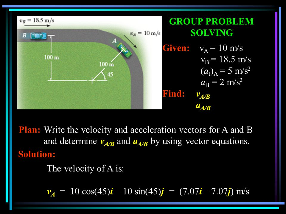 GROUP PROBLEM SOLVING Given: vA = 10 m/s. vB = 18.5 m/s. (at)A = 5 m/s2. aB = 2 m/s2. Find: vA/B.
