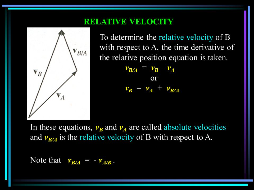 RELATIVE VELOCITY To determine the relative velocity of B with respect to A, the time derivative of the relative position equation is taken.