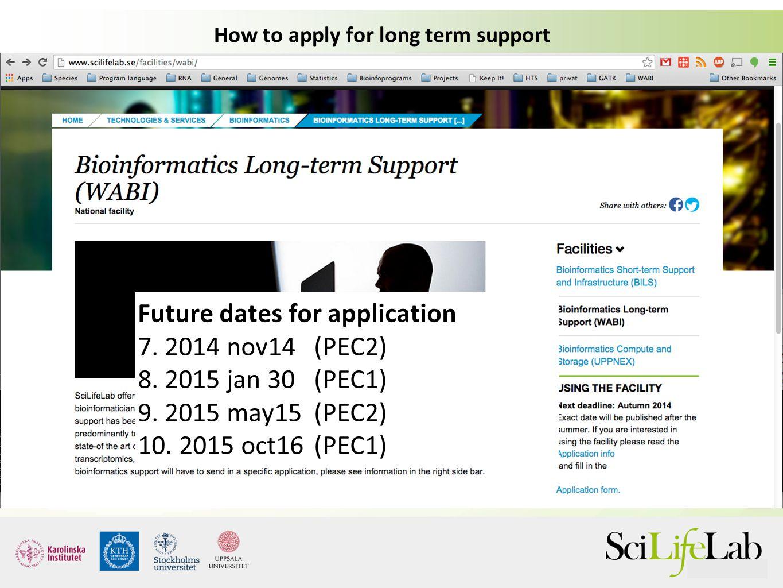 Future dates for application 7. 2014 nov14 (PEC2)