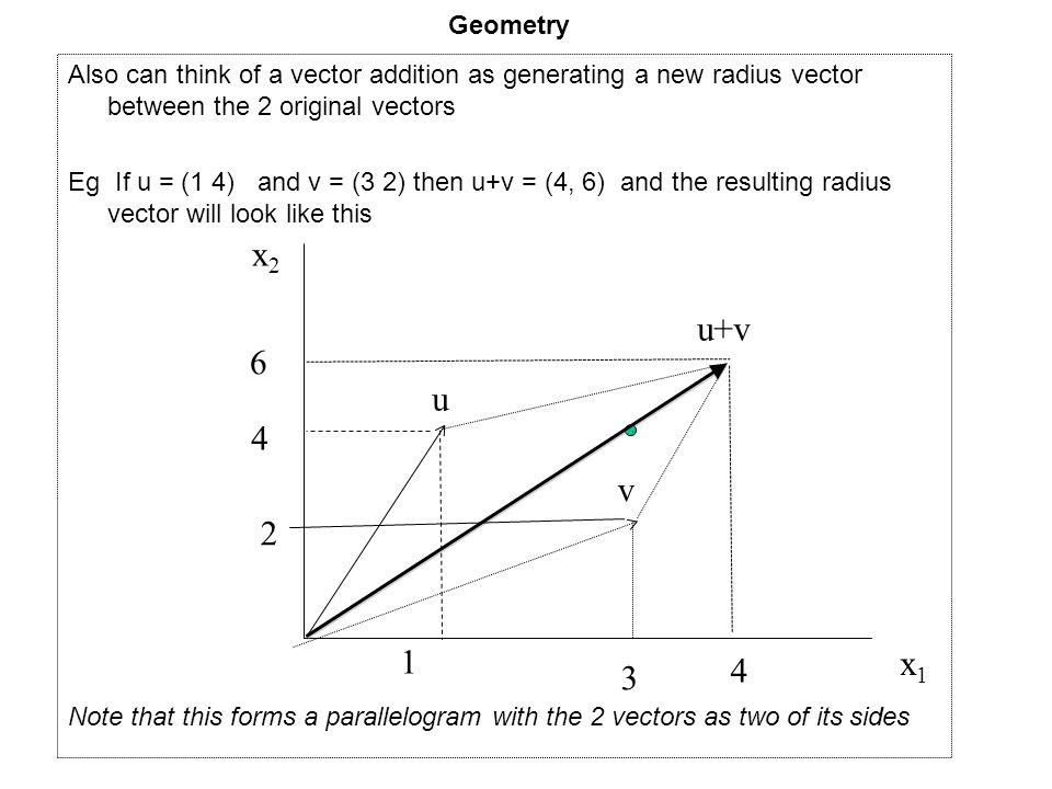 Geometry Also can think of a vector addition as generating a new radius vector between the 2 original vectors.