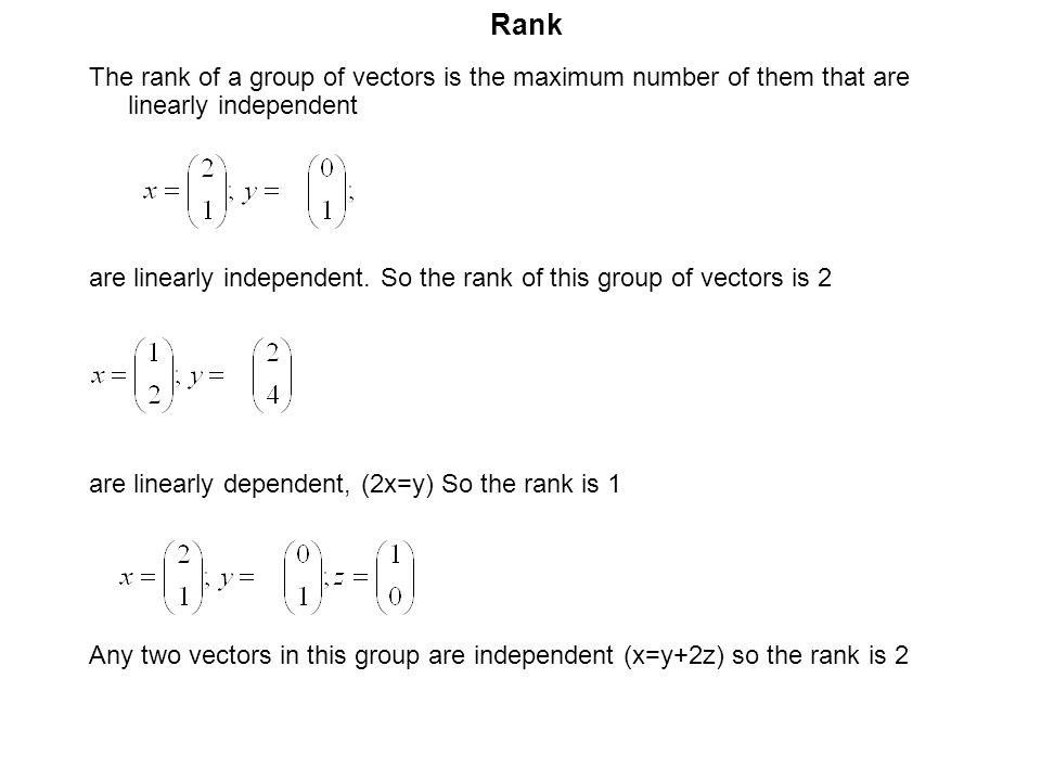Rank The rank of a group of vectors is the maximum number of them that are linearly independent.