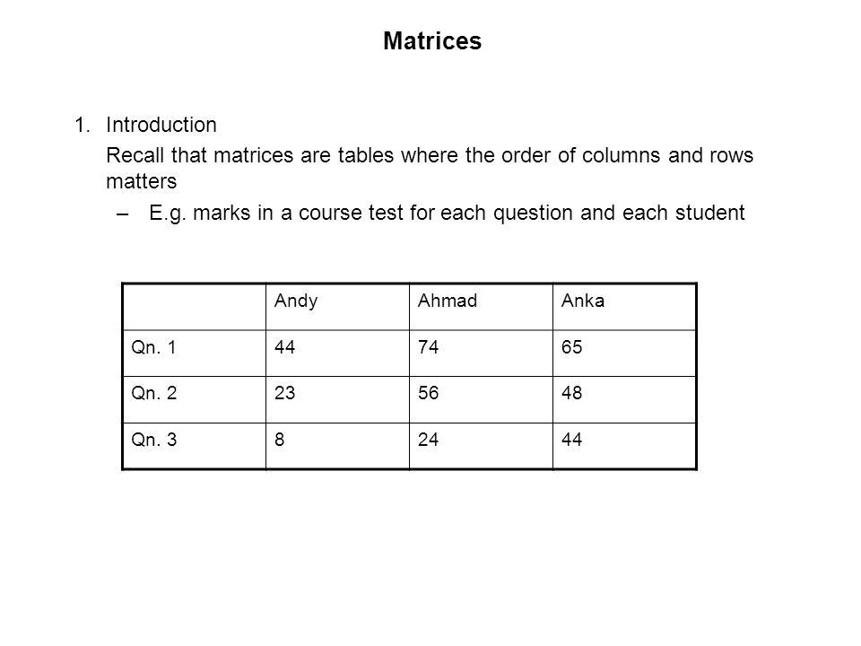 Matrices Introduction