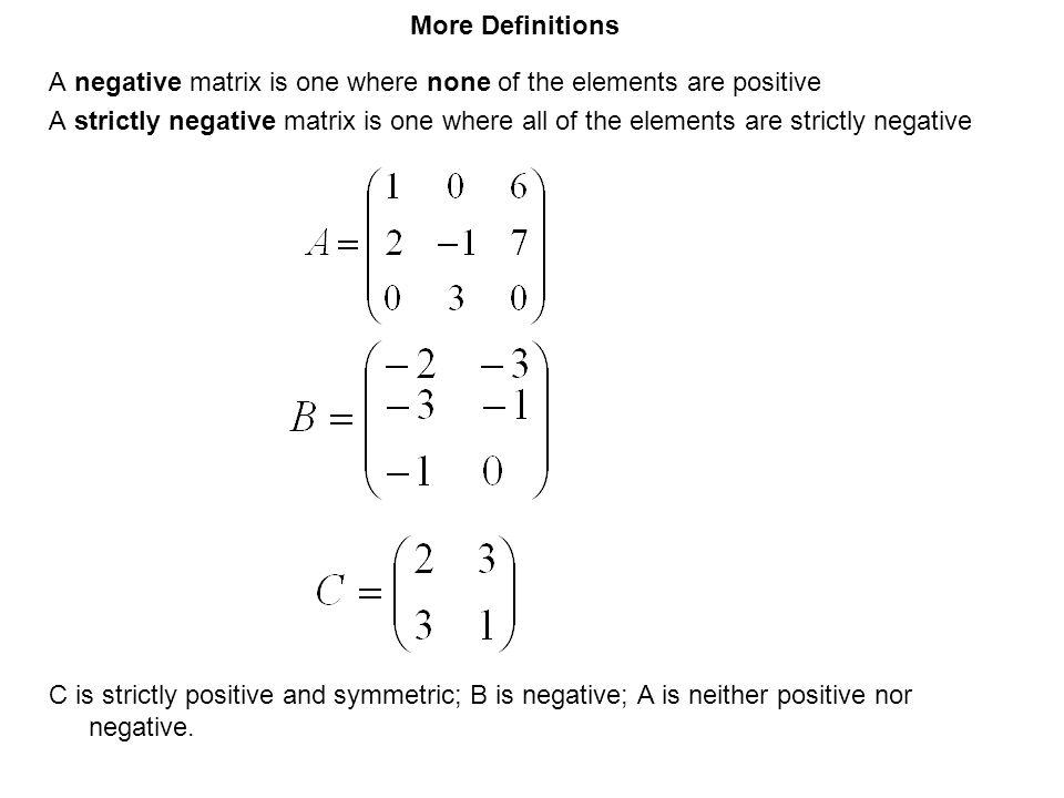 More Definitions A negative matrix is one where none of the elements are positive.