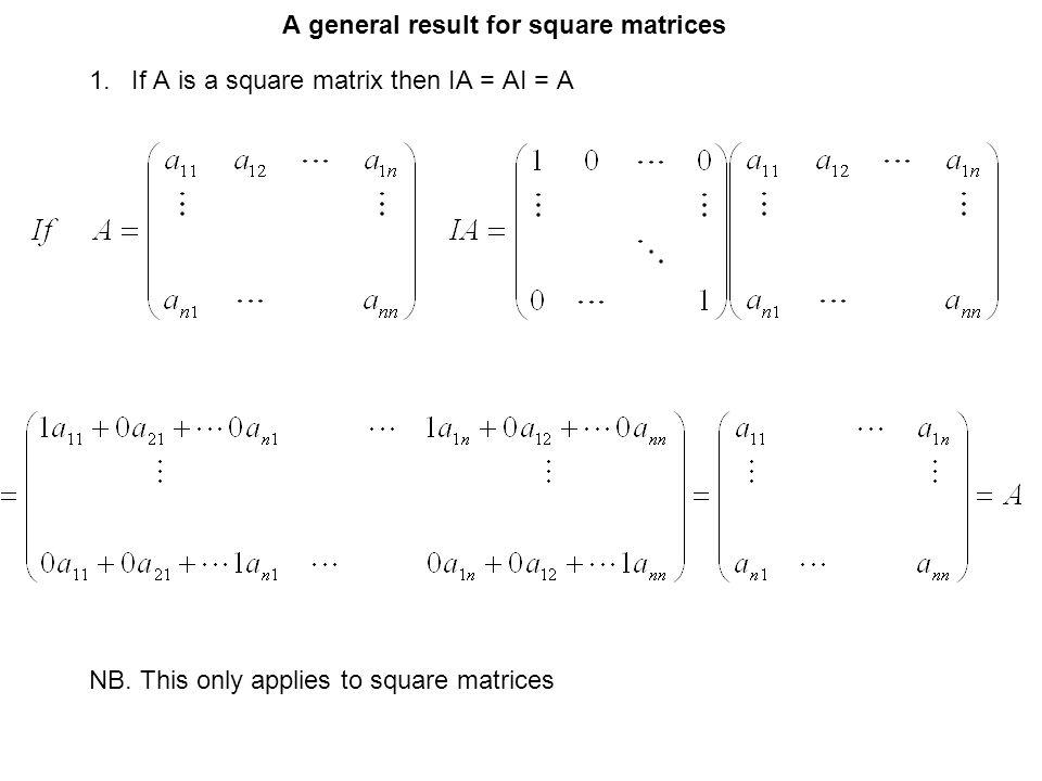 A general result for square matrices