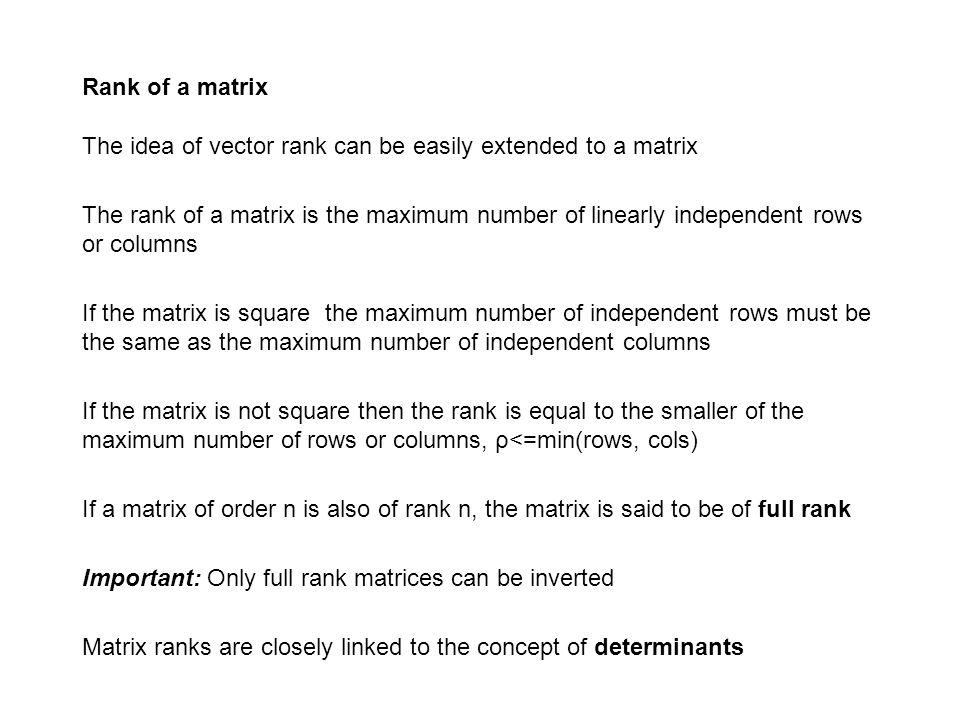 Rank of a matrix