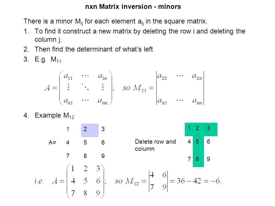 nxn Matrix inversion - minors