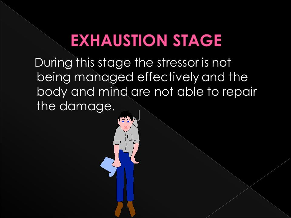 EXHAUSTION STAGE During this stage the stressor is not being managed effectively and the body and mind are not able to repair the damage.