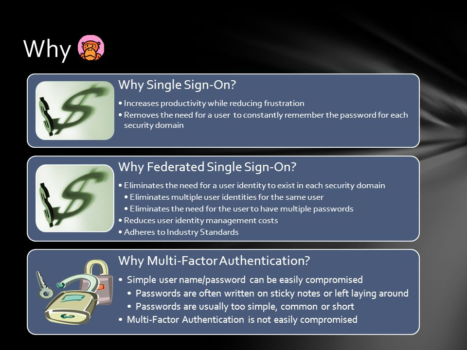 Why Why Single Sign-On Why Federated Single Sign-On