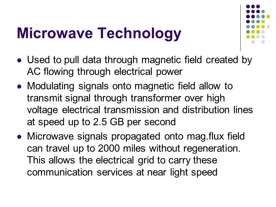 Microwave Technology Used to pull data through magnetic field created by AC flowing through electrical power.