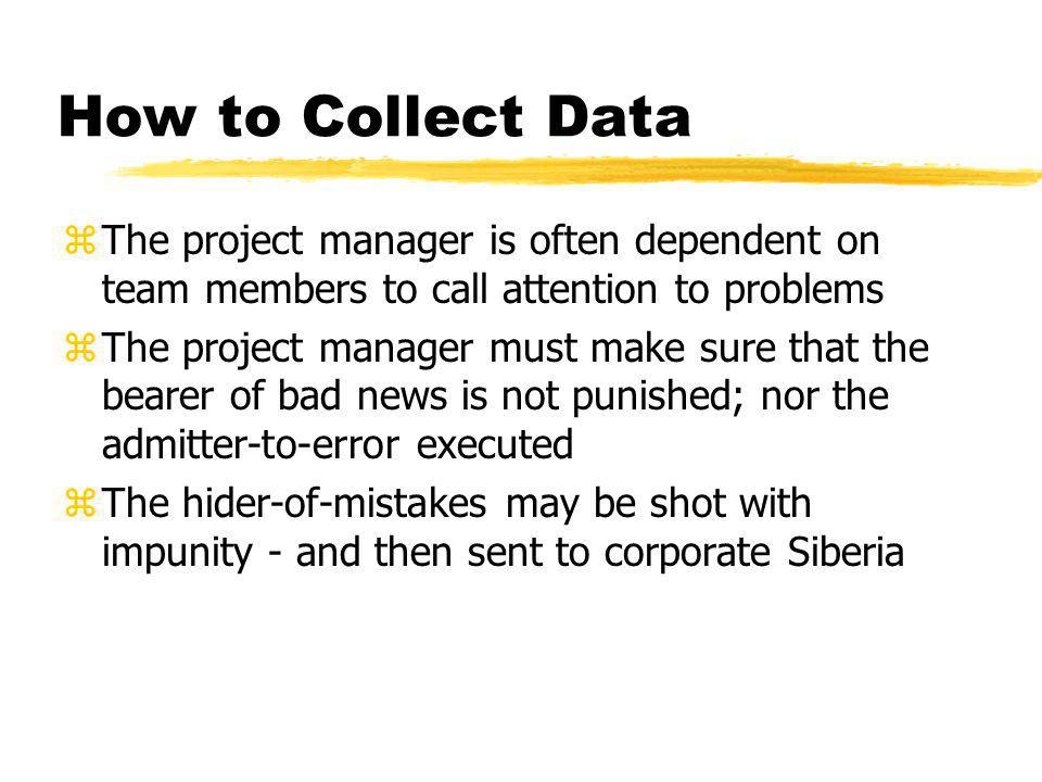 How to Collect Data The project manager is often dependent on team members to call attention to problems.