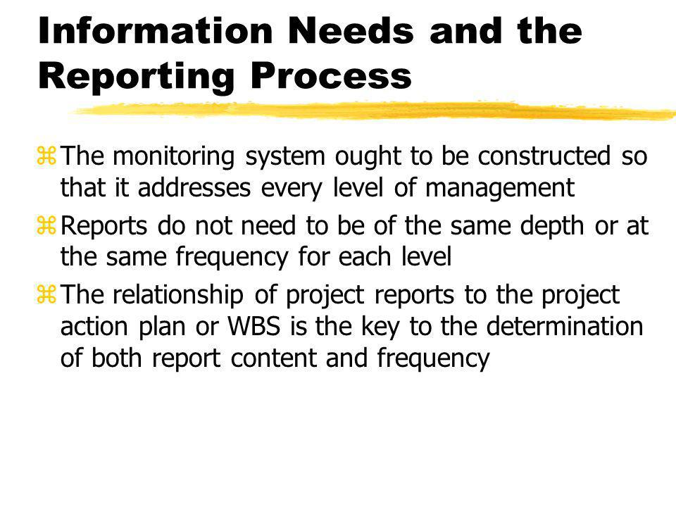 Information Needs and the Reporting Process