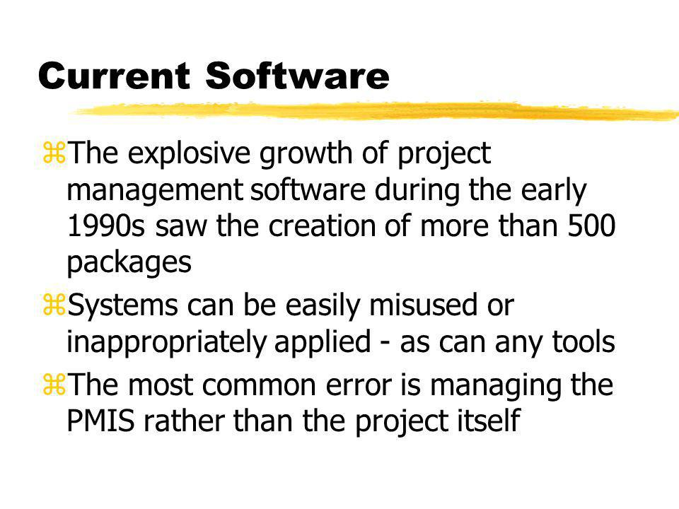 Current Software The explosive growth of project management software during the early 1990s saw the creation of more than 500 packages.