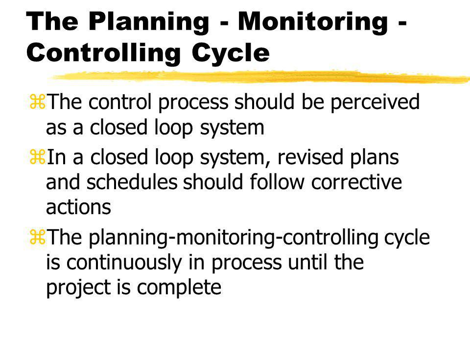 The Planning - Monitoring - Controlling Cycle