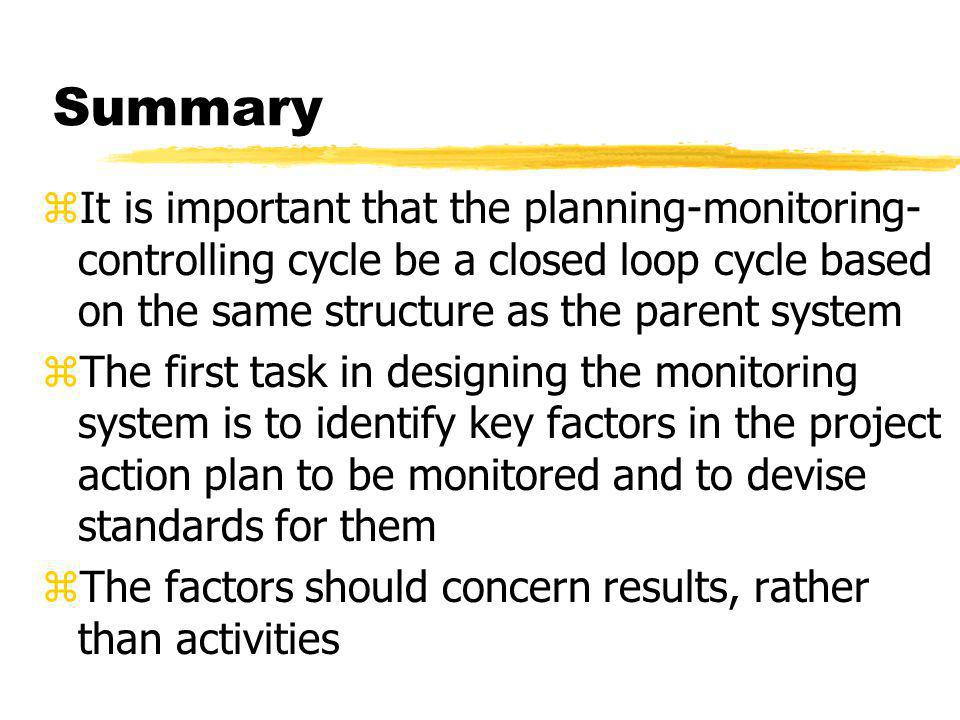 Summary It is important that the planning-monitoring-controlling cycle be a closed loop cycle based on the same structure as the parent system.