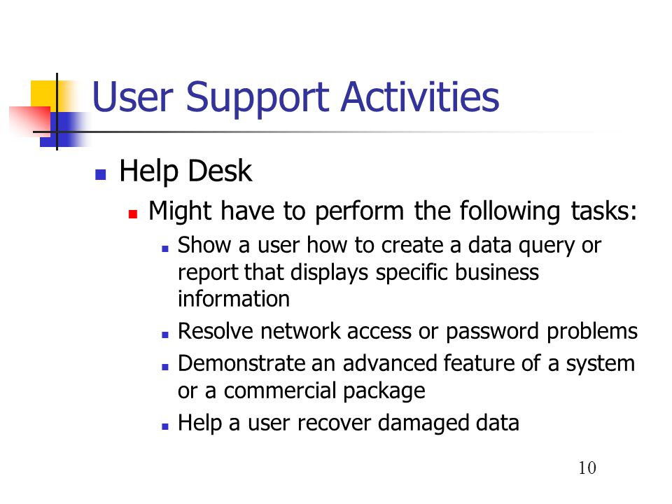 User Support Activities