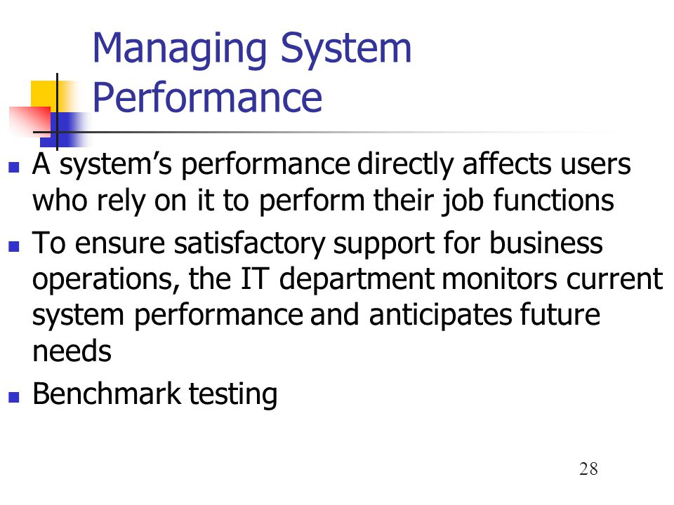 Managing System Performance