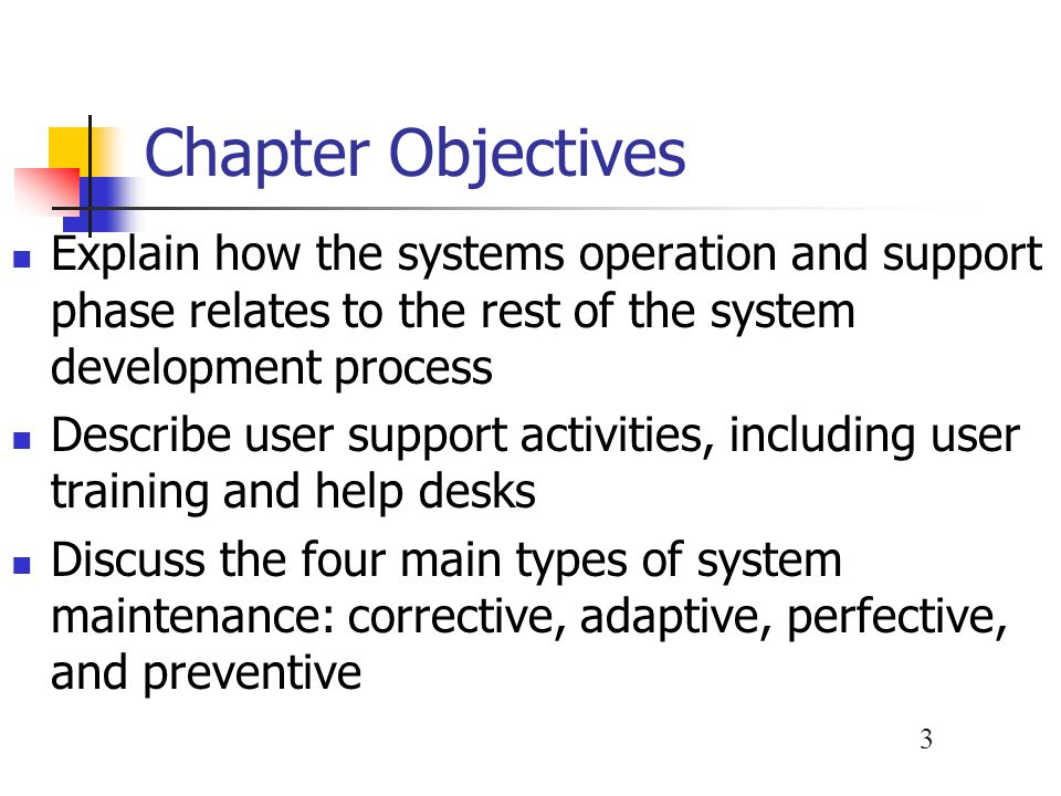 Chapter Objectives Explain how the systems operation and support phase relates to the rest of the system development process.