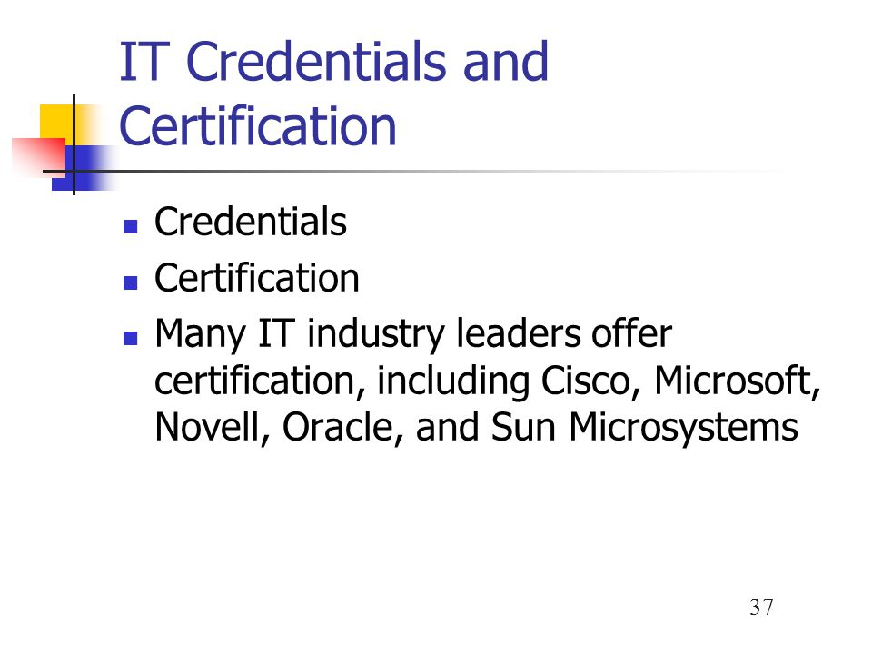 IT Credentials and Certification