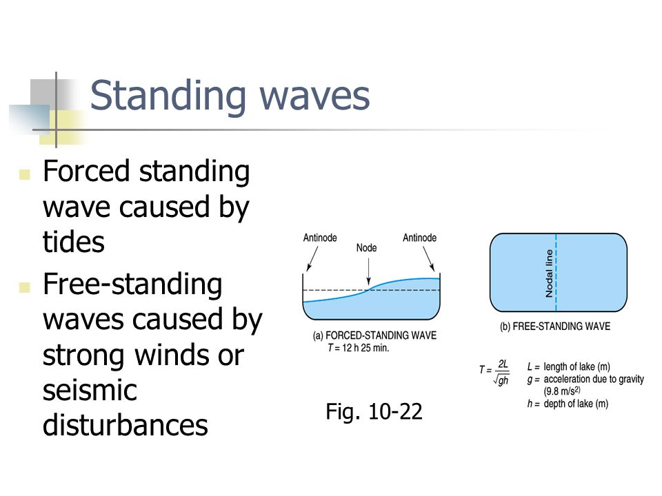 Standing waves Forced standing wave caused by tides